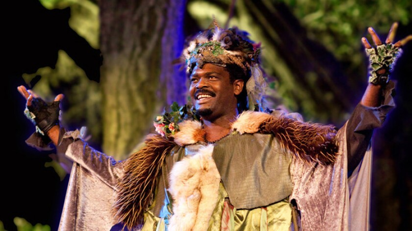 """Michael McFall as Oberon in Shakespeare's """"A Midsummer Night's Dream"""" at Will Geer's Theatricum Botanicum."""