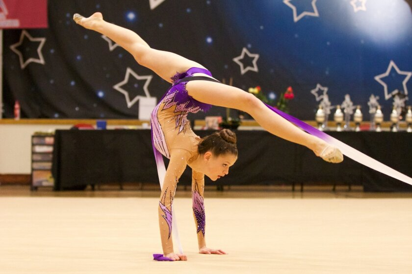 Ninth-grader Emily Kogan performs rhythmic gymnastics. The Rising Stars Cup competition will be Feb. 21-22 in Carmel Valley.
