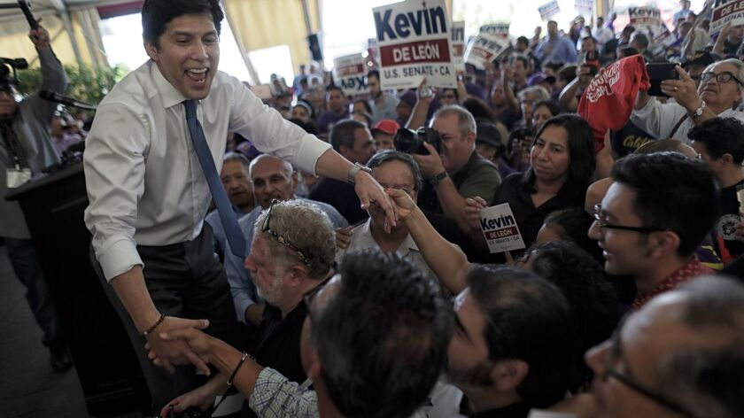 California Senate President Pro Tem Kevin de León shakes hands with supporters during an event held to formally announce his run for U.S. Senate on Oct. 18 in Los Angeles.