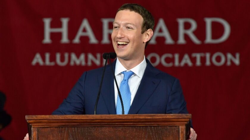 CAMBRIDGE, MA - MAY 25: Facebook Founder and CEO Mark Zuckerberg delivers the commencement address