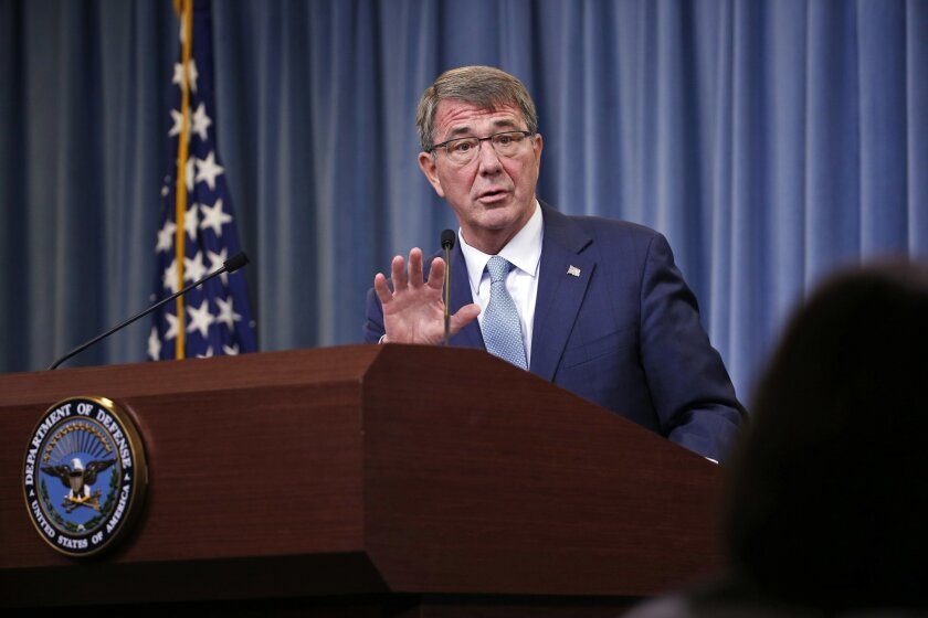 Defense Secretary Ash Carter speaks during a news conference at the Pentagon in 2016.