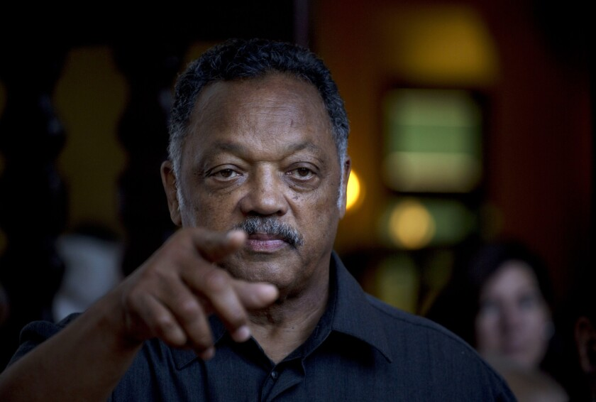 The Rev. Jesse Jackson points to a reporter as he takes questions during an impromptu news conference at the Hotel Nacional in Havana. Jackson last month accepted a request by the Revolutionary Armed Forces of Colombia, or FARC, to oversee the release of a U.S. citizen, Kevin Scott Sutay, who was kidnapped in June.