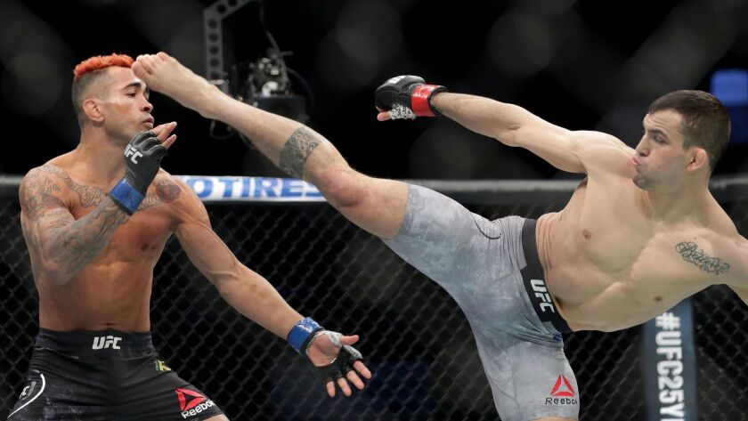 Mirsad Bektic of Bosnia delivered a kick to Godofredo Pepey of Brazil during UFC Fight Night at Spectrum Center on Jan, 27, in Charlotte, North Carolina. UFC is one of the properties owned by Endeavor.