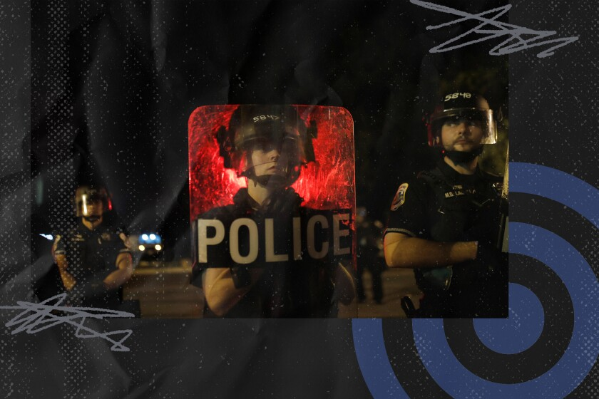 Illustration with photo of three police officers, one standing behind a shield