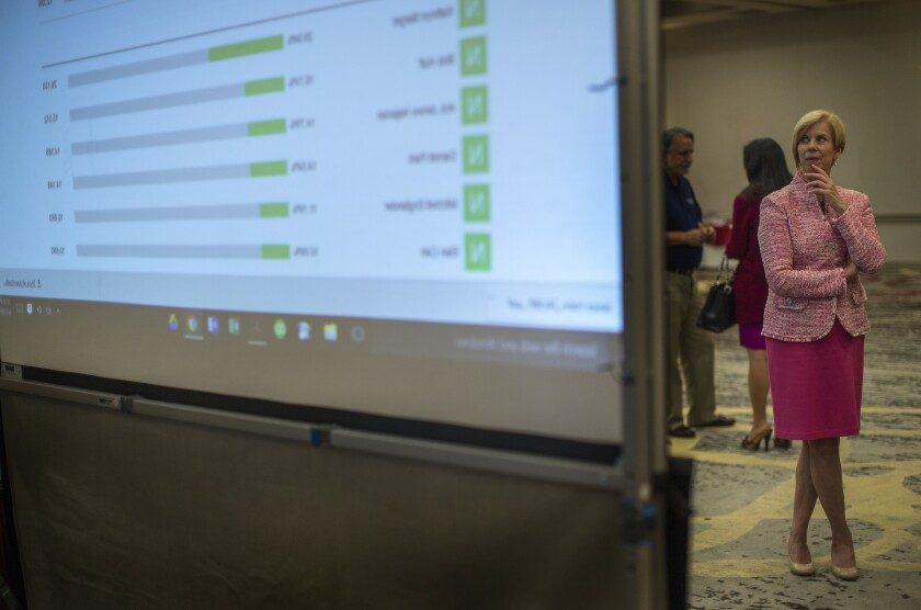U.S. Rep. Janice Hahn checks the video screen as election returns come in late Tuesday in her race for Los Angeles County supervisor. She faces a November runoff with Steve Napolitano.