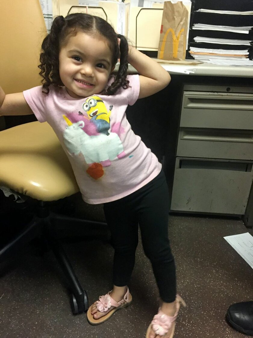 The Los Angeles County Sheriff's Department has provided this photo of a little girl, found wandering alone on the streets of Compton, Calif., as they seek the public's help in locating her parents Sunday, Feb. 14, 2016. The sheriff's department says the toddler, who appears to be about 3-years-old