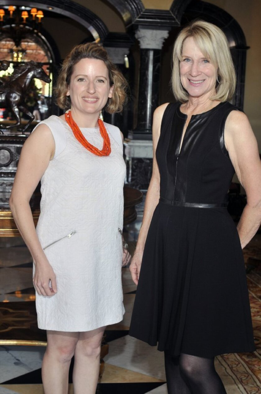 Author Stephanie Clifford, Rancho Santa Fe Literary Society President Candace Humber.