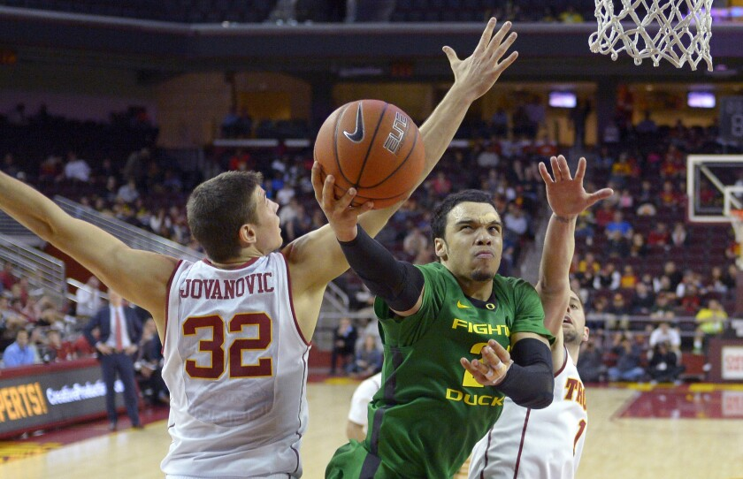 Oregon forward Dillon Brooks had 15 points with four rebounds in the Ducks' 80-75 victory over USC on Wednesday at Galen Center.