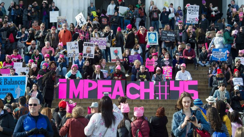 Participants in the Women's March rally at the Lincoln Memorial in Washington on Jan. 20.