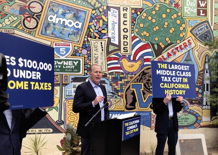 Republican gubernatorial candidate Kevin Faulconer speaks during a news conference in San Pedro in May.