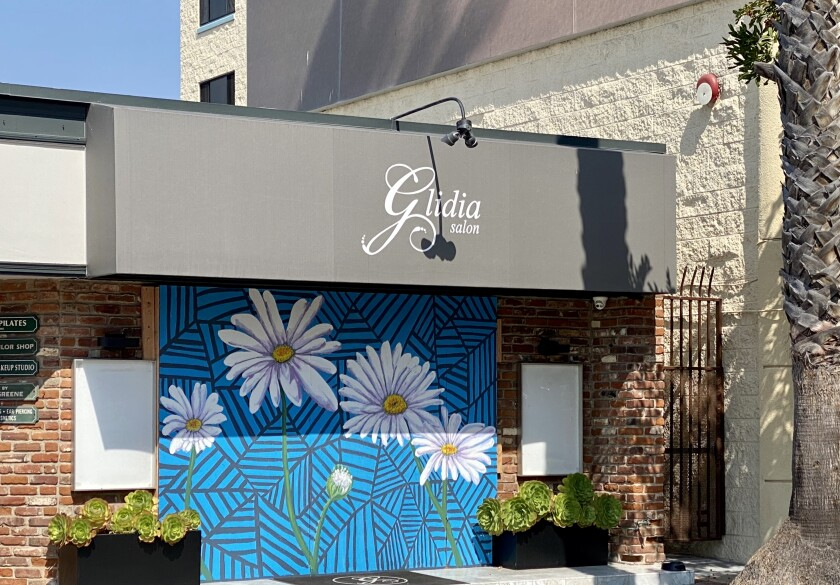 Plywood used to board up windows at Glidia Salon at 7760 Fay Ave. in La Jolla was covered by a mural.