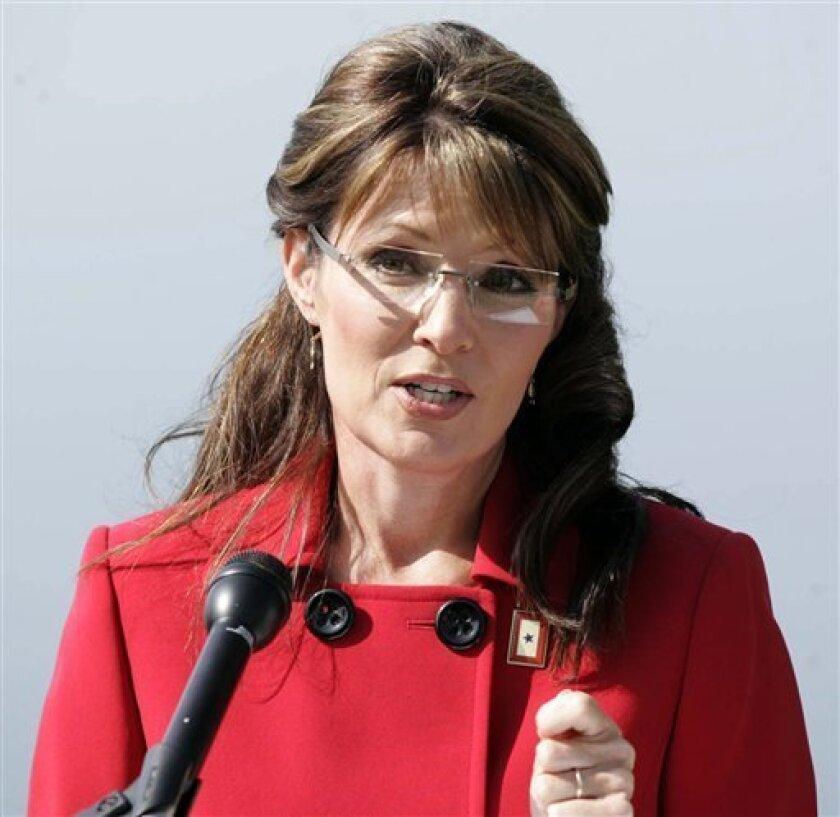 Alaska Gov. Sarah Palin announces that she is stepping down from her position as Governor in Wasilla, Alaska on Friday July 3, 2009. The former Republican vice presidential candidate made the surprise announcement, saying she would step down July 26 but didn't announce her plans. (AP Photo/The Mat-Su Valley Frontiersman, Robert DeBerry)