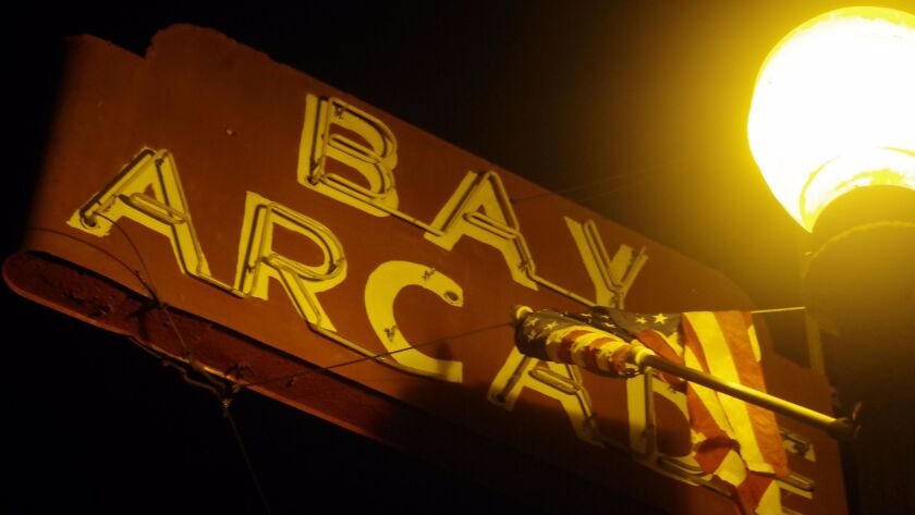 The Bay Arcade's iconic neon sign.