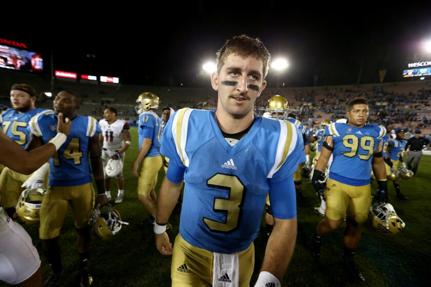 Quarterback Josh Rosen walks off the field after the Bruins' 45-24 victory over the Arizona Wildcats on Oct. 1.