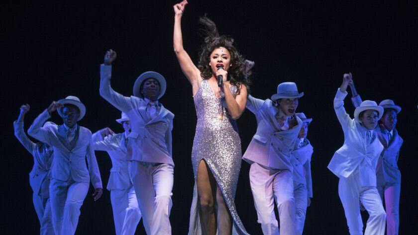 "Ariana DeBose and other cast in ""Summer: The Donna Summer Musical,"" at the Lunt-Fontanne Theater in New York."