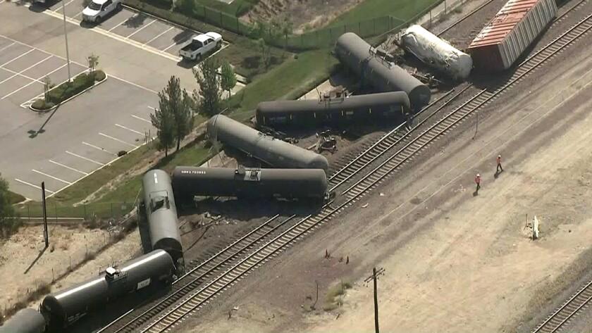 More than a dozen tanker cars derailed in the 7200 block of Cajon Boulevard in San Bernardino Tuesday morning.