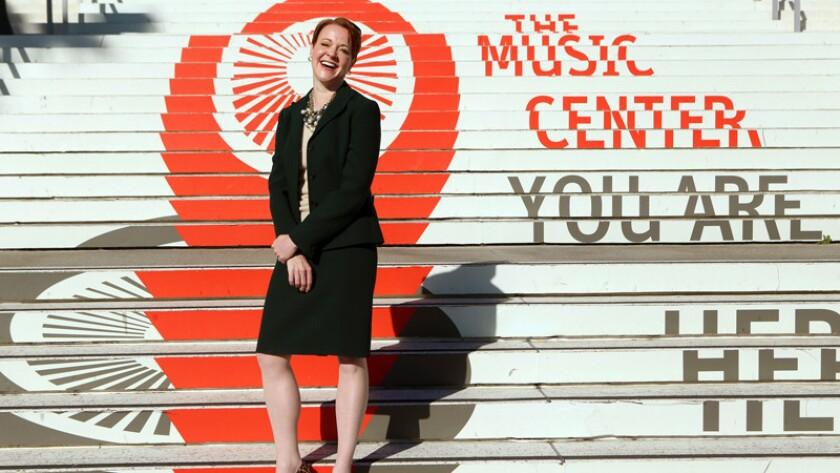 """My goal is to provide programming that's elite in quality but not elitist in sensibility,"" said Music Center Chief Executive Rachel S. Moore, pictured here before the Music Center's plaza redesign."