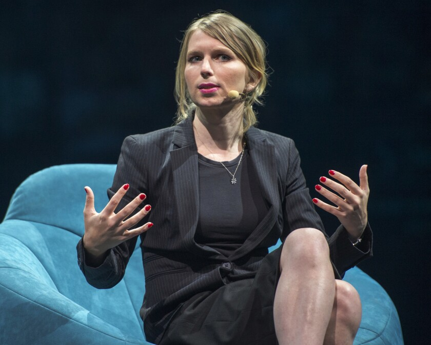 FILE - In this May 24, 2018 file photo, Chelsea Manning, the former Army intelligence analyst who s
