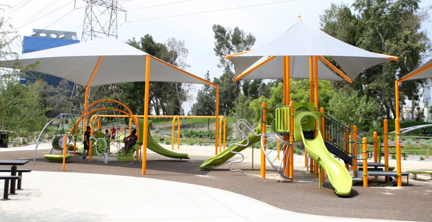 New playground equipment at Johnny Carson Park