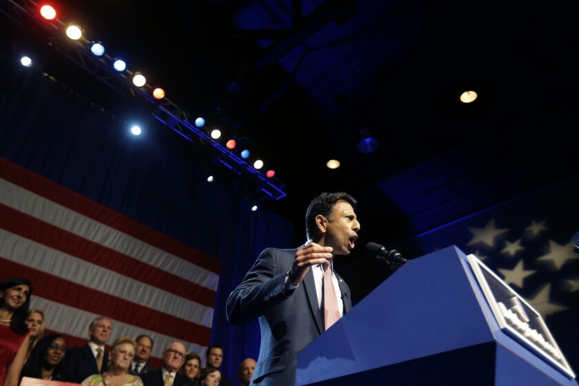 """Louisiana Gov. Bobby Jindal announces his candidacy for President in Kenner, La. on June 24. Jindal is one of many prominent politicians to have recently used the phrase """"Let's be clear"""" in a speech or essay."""