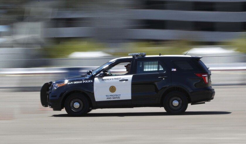 A San Diego Police Department Ford Interceptor