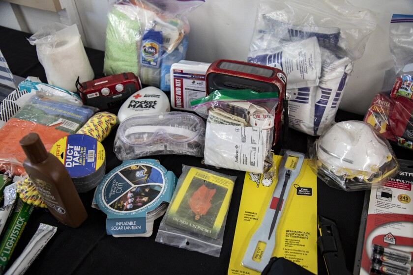 Items for emergencies, including duct tape, face masks and a first-aid kit.