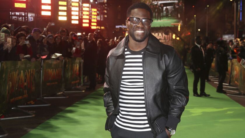 """Kevin Hart, seen here at the premiere for his film """"Jumanji, Welcome to the Jungle"""" in London last December, performs at Viejas Arena at San Diego State University on July 7."""