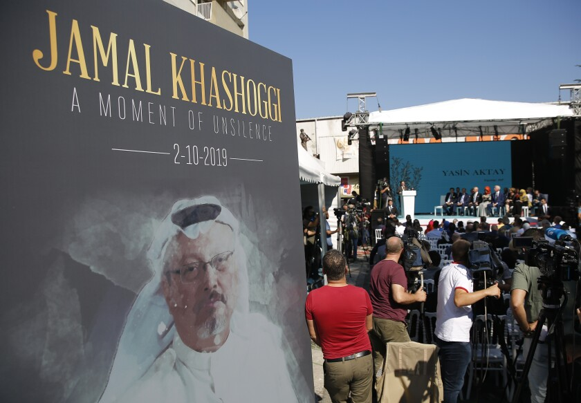 A picture of Jamal Khashoggi is displayed during a ceremony marking the first anniversary of his death.