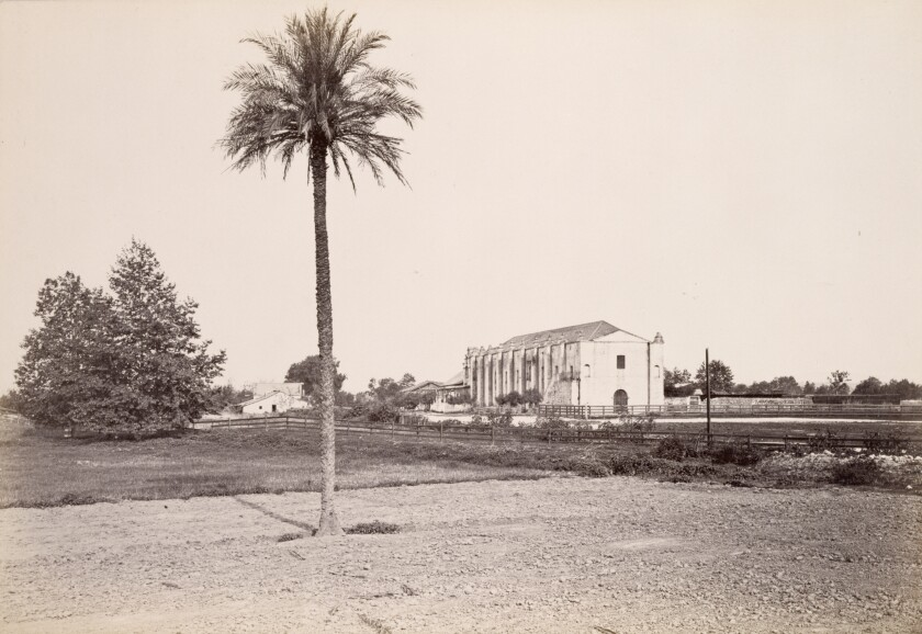 Carleton Watkins sepia photograph of the Mission San Gabriel from the 19th century