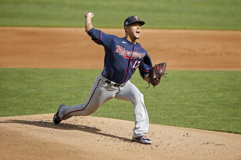 Minnesota Twins starting pitcher Jose Berrios throws in an intrasquad game at a baseball camp Monday, July 13, 2020, in Minneapolis. (AP Photo/Bruce Kluckhohn)