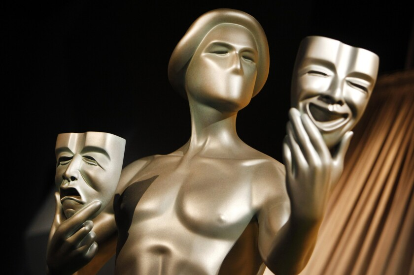 A photo of the Screen Actors Guild award, called the Actor.