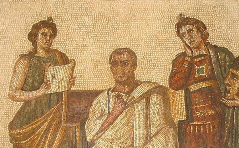 Mosaic of Roman poet Virgil (middle) by an unknown artist
