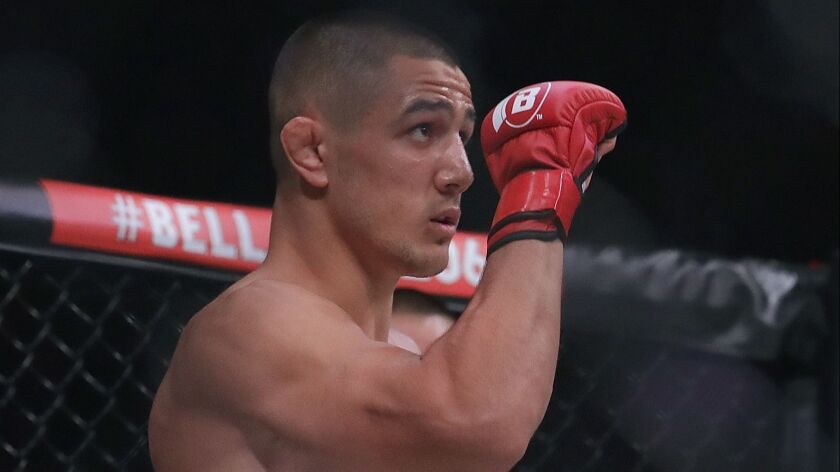 Aaron Pico is introduced before fighting Leandro Higo during a featherweight mixed martial arts fight at Bellator 206.