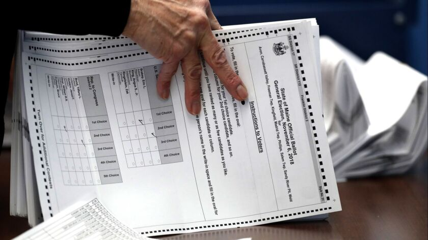 Maine's ranked-choice ballot for the 2018 midterms.