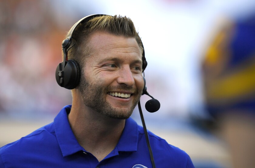 The Rams' success on road trips brings a smile to the face of coach Sean McVay.