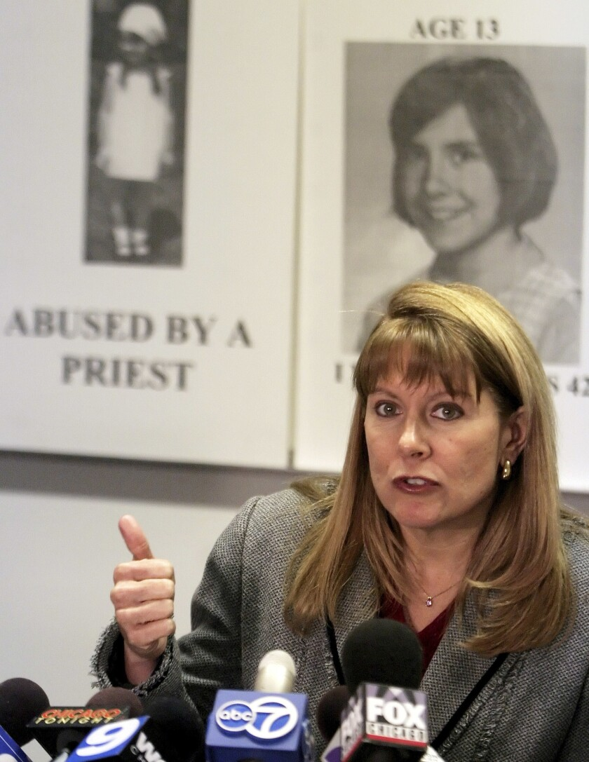 In this Feb. 15, 2006, file photo, Barbara Blaine, president of the Survivors Network of those Abused by Priests, speaks out at a news conference in Chicago. Blaine, the founder of the group that advocates for priest abuse victims, has stepped down after three decades of campaigning to force the Catholic Church to recognize the extent of the scandal and compensate thousands of people affected.