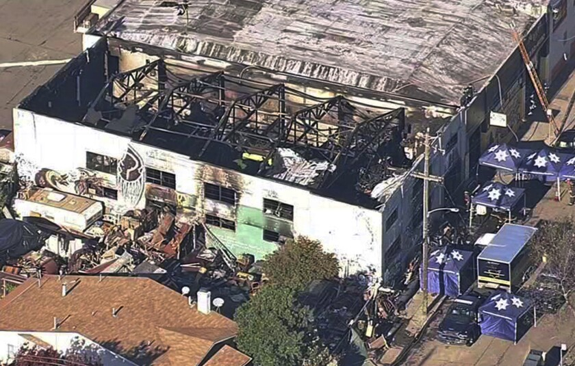 The Ghost Ship warehouse in Oakland after a fire swept through the building in December 2016.