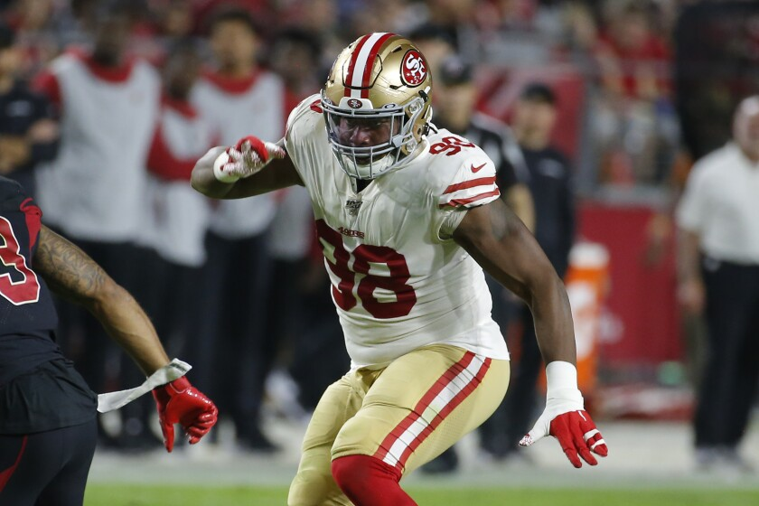 FILE - San Francisco 49ers defensive end Ronald Blair (98) playsd during the first half of an NFL football game against the Arizona Cardinals in Glendale, Ariz., in this Thursday, Oct. 31, 2019, file photo. The New York Jets have signed defensive lineman Ronald Blair, a favorite of coach Robert Saleh from their days together with the San Francisco 49ers. The addition of Blair on Tuesday, June 1, 2021, bolsters a defensive line that is considered a strength of the Jets. (AP Photo/Rick Scuteri, File)