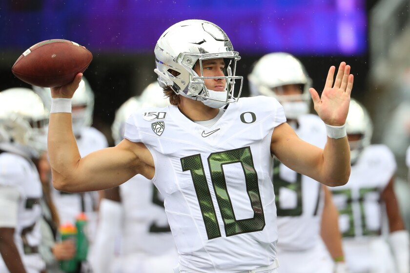 Oregon quarterback Justin Herbert is headed to Los Angeles to play for the Chargers.