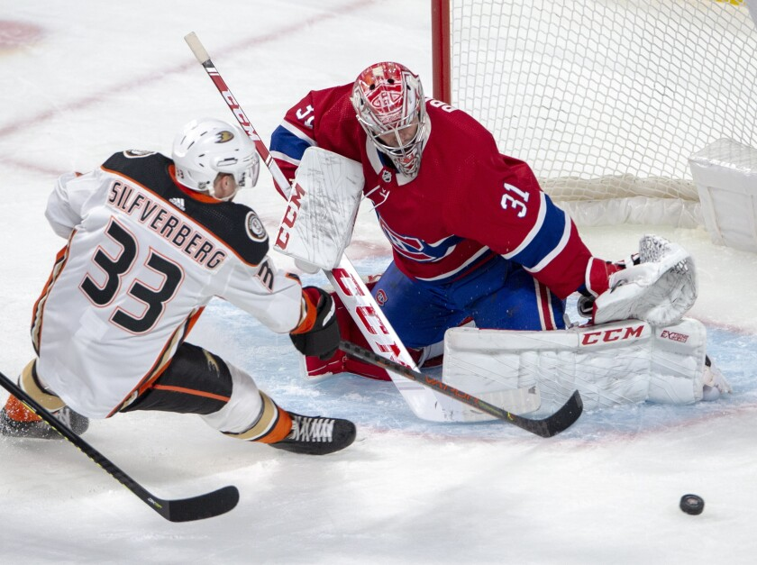 Canadiens goaltender Carey Price makes a save on Ducks right wing Jakob Silfverberg during the first period of a game Feb. 6 at the Bell Centre.