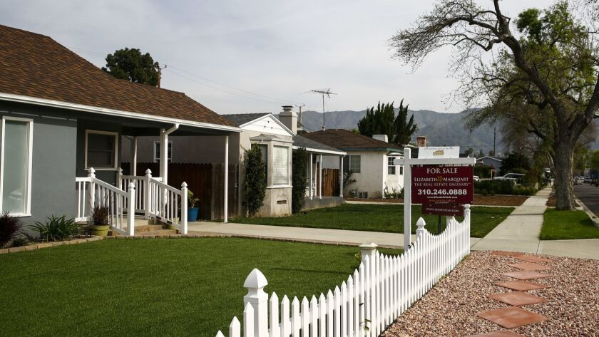 BURBANK, CALIF. - MARCH 26: A home for sale along Elm avenue, on Tuesday, March 26, 2019 in Burbank,