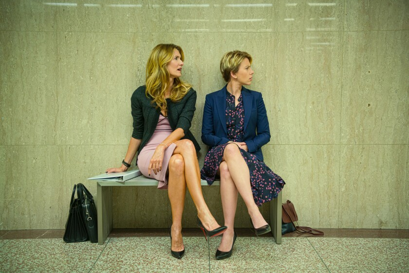 "Laura Dern, left, and Scarlett Johansson in ""Marriage Story"""