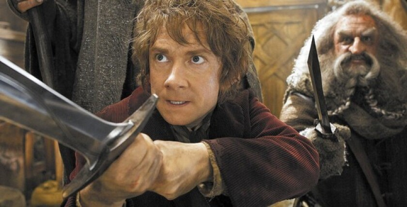 "Martin Freeman portrays Bilbo, left, and John Callen as Oin in ""The Hobbit: The Desolation of Smaug."""