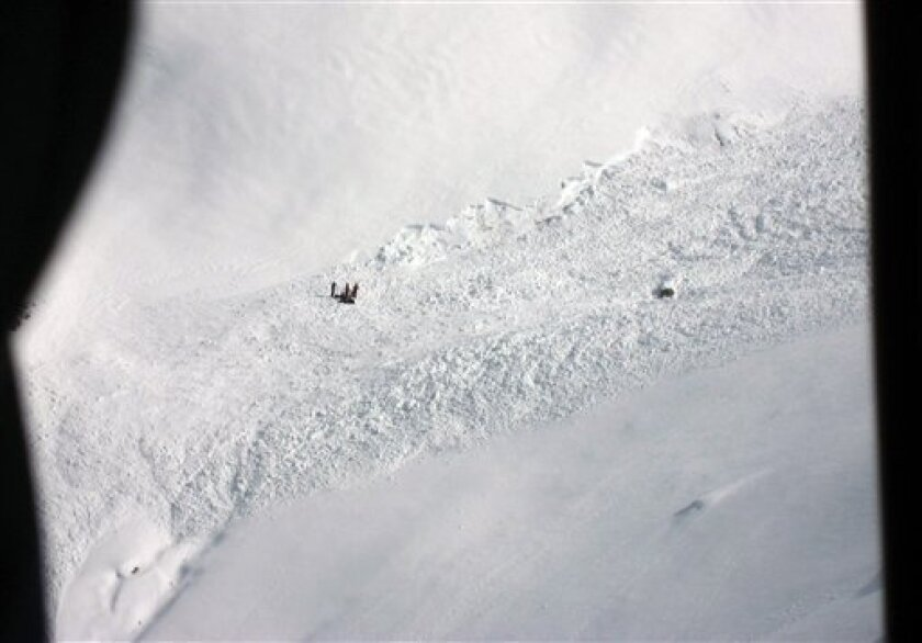 In this photo provided by the cantonal police Wallis rescuers work at the site where an avalache hit the area at Montagne de la Nava above the village of Ayer in Switzerland, on Friday, April1, 2011. Swiss police say three people have been killed by the avalanche in southern Switzerland. A further three people suffered injuries while three more were unharmed by the avalanche in the Anniviers valley near the border with Italy. (AP Photo/Kantonspolizei Wallis, handout) NO SALES, NO ARCIVES, MANDATORY CREDIT ONLY