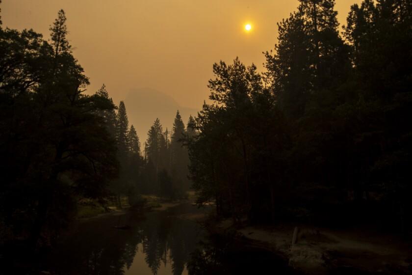 Thick smoke over Half Dome at Yosemite National Park.