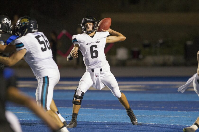 Valley Center quarterback Rhett Reilly entered Friday's game with nine TD passes and just two interceptions for the Jaguars this season.
