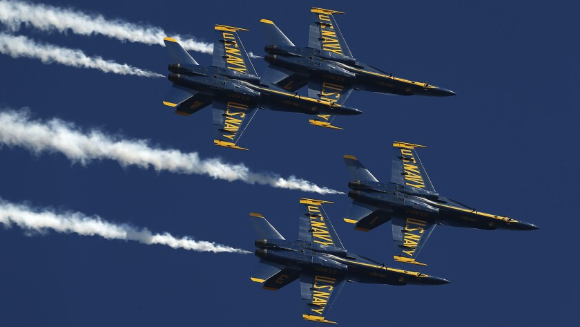 The U.S. Navy Blue Angels practice for the Miramar Air Show on September 27, 2018.