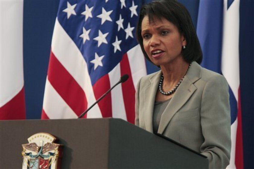 US Secretary of State Condoleezza Rice, left, talks to reporters during a news conference in Panama City, Wednesday, Dec. 10, 2008. In her last scheduled trip to the region as secretary of state, Rice met with foreign, trade and commerce ministers from Latin American nations during a one-day summit.(AP Photo/Arnulfo Franco)