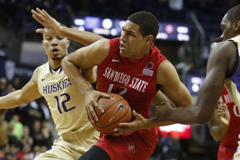 San Diego State guard Trey Kell handles the ball against Washington's Andrew Andrews on Sunday, Dec. 7 in Seattle.
