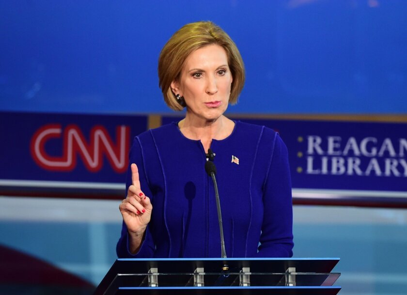 Carly Fiorina speaks during the Republican presidential debate at the Ronald Reagan Presidential Library in Simi Valley.
